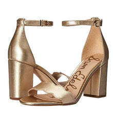 Load image into Gallery viewer, Gold Sam Edelman Ankle Strap Sandals Pair