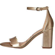 Load image into Gallery viewer, Gold Sam Edelman Ankle Strap Sandals Left