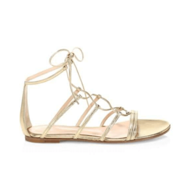 Golden Metallic Leather Gladiator Sandals Side View