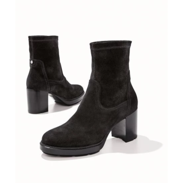 Idalia Stretch-Suede Booties - Plus Size Heels | Size 10 Heels