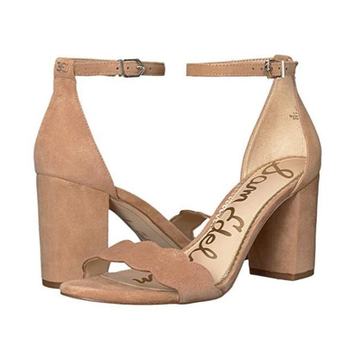 Light Brown Ankle Strap Sandal Heels Pair