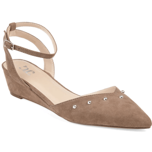Low Ankle Strap Wedges Taupe in Size 10