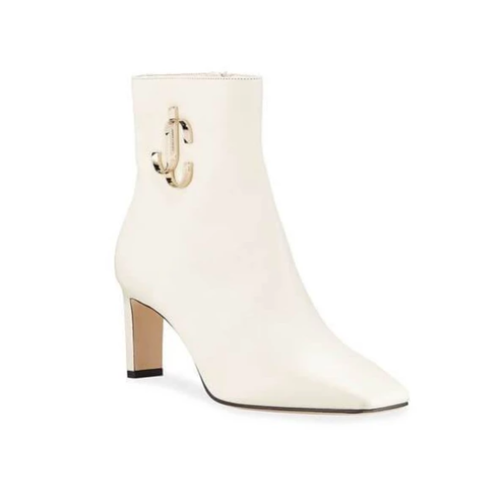 Minori Smooth Leather White Booties  - Plus Size Heels | Size 13 Heels