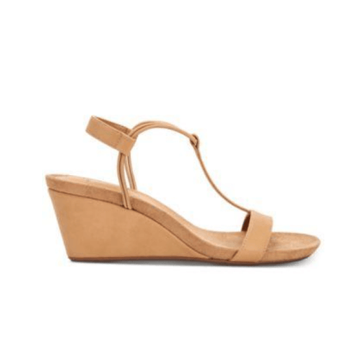 Mulan Biscuit Brown Wedge Sandals Side View