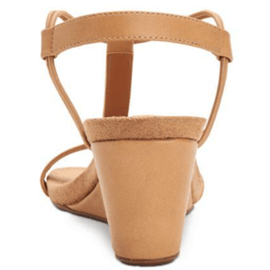 Mulan Biscuit Brown Wedge Sandals Back View