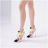 Multicolor Patent Leather PVC Stiletto Heel Lace Up Boots - Plus Size Heels | Size 15 Heels