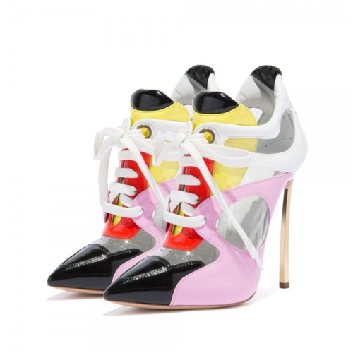 Multicolor Patent Leather PVC Stiletto Heel Lace Up Boots - Plus Size Heels | Size 14 Heels