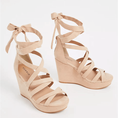 Nude Faux Suede Strappy Ankle Wrap Wedge in Size 10