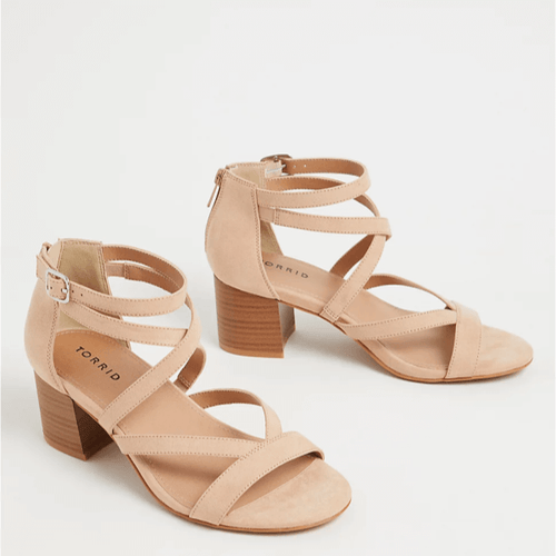 Nude Faux Suede Strappy Block Heel Sandal in Size 10