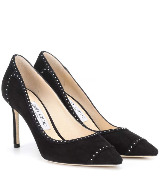 807c5f456ea Black Jimmy Choo Romy 85 Studded Suede Pumps - Plus Size Heels