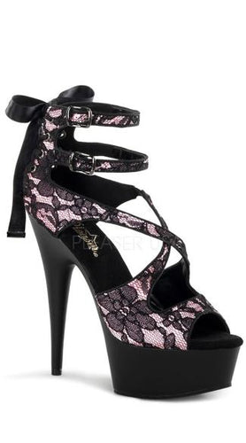 Black and Pink Corset Lace Sandal - Plus Size Heels | Size 11 Heels | Size 12 Heels