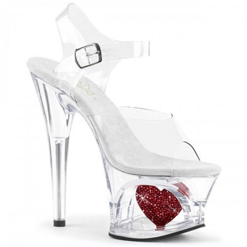 Pleaser Clear Platform Heart Sandals in Size 11