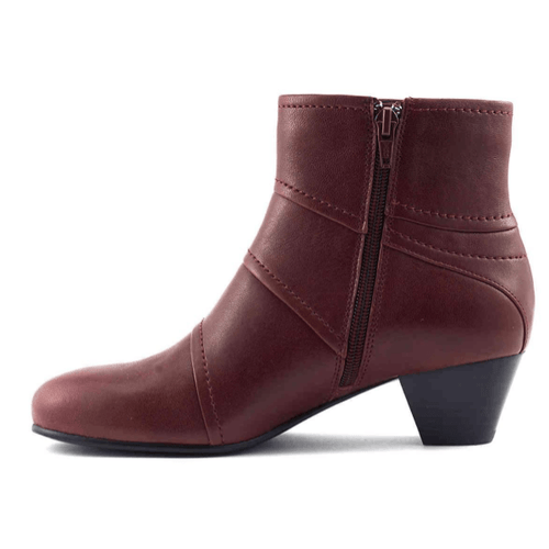 Reddish Brown Low Heel Booties