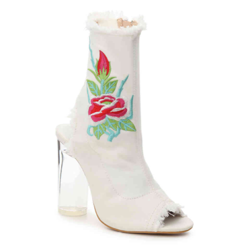 Roadie White Flower Peep Toe Booties - Plus Size Heels | Size 14 Heels