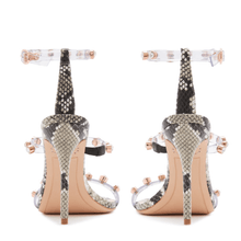 Load image into Gallery viewer, Rosalind Gem Snakeskin Heels in Size 11 Back View