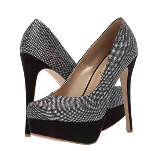 Trixie - Silver Almond Toe Heels Both Shoes Plus Size Heels