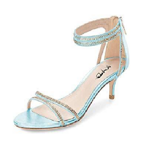Blue Low Heel Strappy Rhinestone Sandals - Plus Size Heels | Size 13 Heels