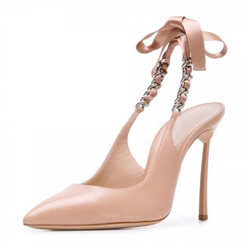 Blush Bow Stiletto Heel Slingback Pumps - Plus Size Heels | Size 14 Heels
