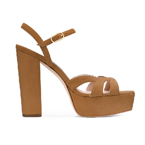 Misty: Brown Block Heel Platform Sandals - Plus Size Heels | Size 16 Heels
