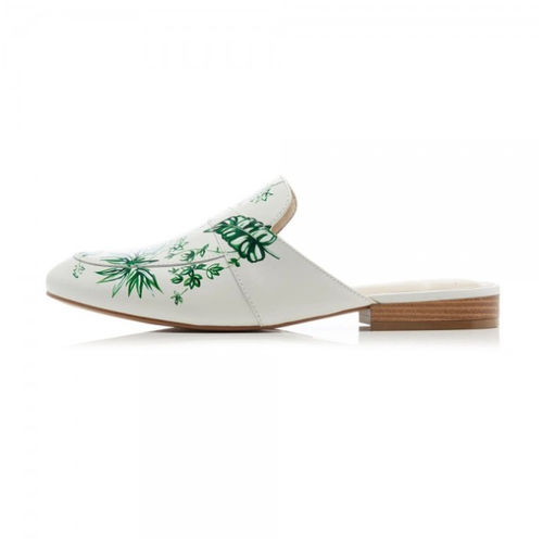 White Floral Flat Loafer Mules - Plus Size Heels | Size 10 Heels