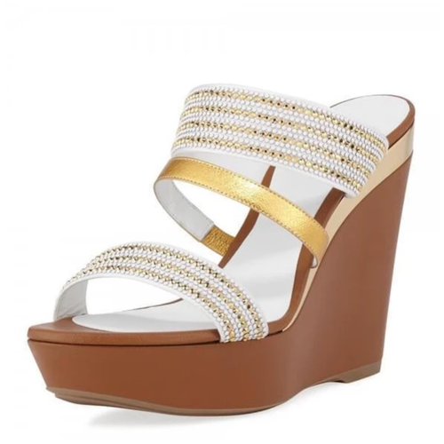 White and Gold Rhinestone Platform Wedge Heels Mule Sandals - Plus Size Heels | Size 13 Heels