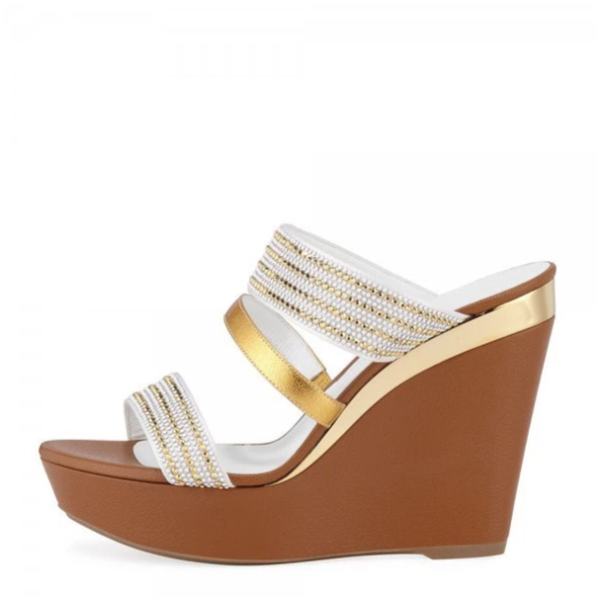 White and Gold Rhinestone Platform Wedge Heels Mule Sandals - Plus Size Heels | Size 15 Heels