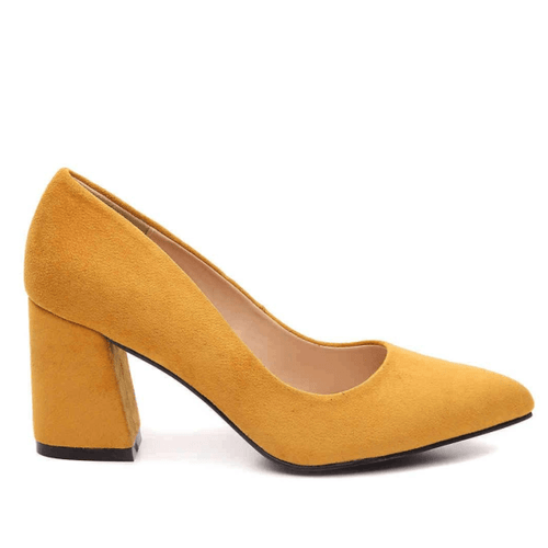 Yellow Block Heel Pumps Side View Sizes 11, 12, 13
