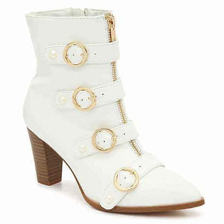 Penny Loves Kenny: ASAP White Booties  - Plus Size Heels | Size 11 Heels