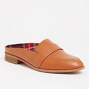 Cognac Faux Leather Slip-On Penny Loafer (Wide Width) - Plus Size Heels | Size 10 Heels