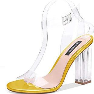 Clear Ankle Strap Chunky Block Sandals - Plus Size Heels | Size 12 Heels