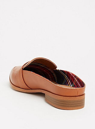 Cognac Faux Leather Slip-On Penny Loafer (Wide Width) - Plus Size Heels | Size 13 Heels