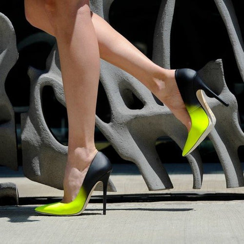 Lime and Black Stiletto Heels Pointy Toe High Heels | Size 13 Heels | Plus Size Heels