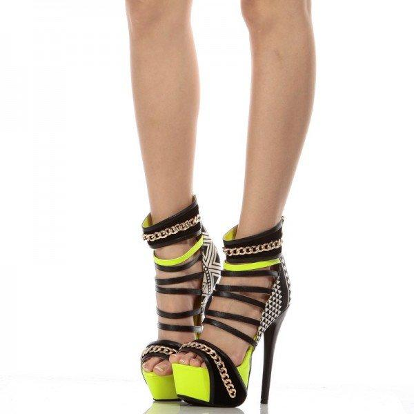 Black and Yellow Platform Heels Sexy Strappy Sandals with Chain - Plus Size Heels | Size 11 Heels | Size 12 Heels