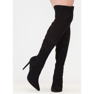 Sexy Black Over the Knee Large Size Stiletto Boots with Pointed Toe