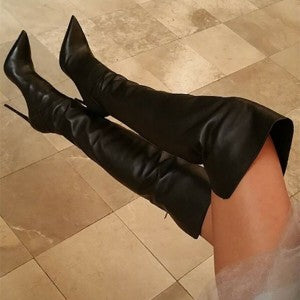 Black Thigh High Heel Boots Stiletto Heel Pointy Toe Boots 5 - Plus Size Heels | Size 13 Heels