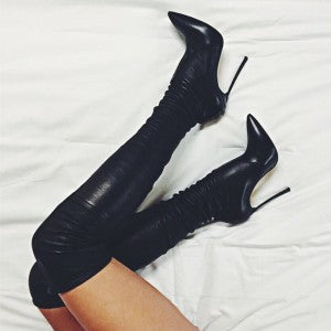 Black Tight Thigh High Heel Boots Stiletto Heel Boots 15 - Plus Size Heels | Size 15 Heels