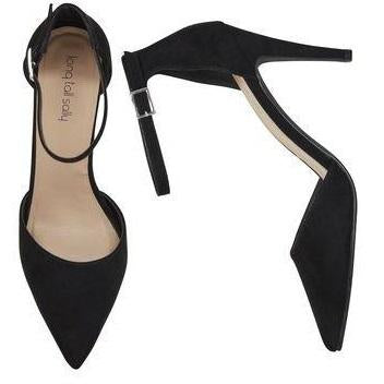 Pointed Toe Ankle Strap Black High Heels in Size 11, 12, 13, 14, 15 on Plus Size Heels