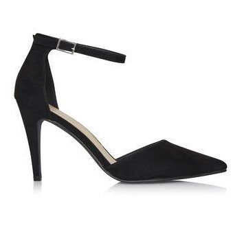 Pointed Toe Ankle Strap Black High Heels in Sizes 11 - 15 on Plus Size Heels