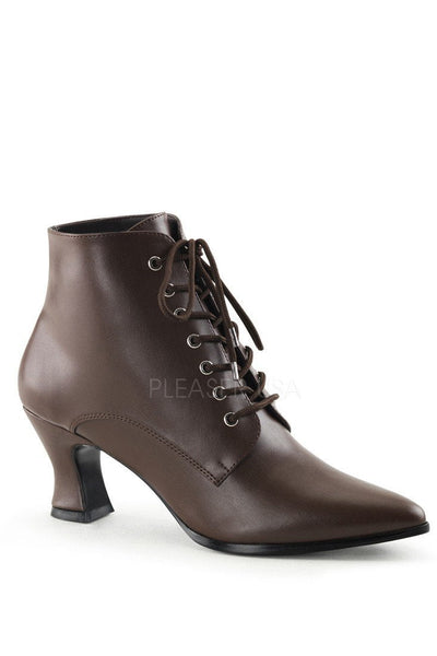 Brown Lace Up Victorian Ankle Booties Faux Leather - Plus Size Heels | Size 11 Heels | Size 12 Heels