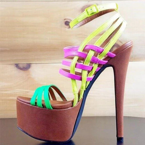 Side view of 1 Brown Platform Base, Green, Purple and Yellow Strap Stiletto Heels in size 11, 12, 13, 14, and 15