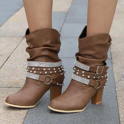 Brown Rivets and Rhinestone Slouch Boots Cool Chunky Heel Boots - Plus Size Heels - Size 13