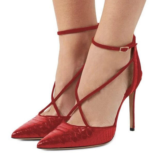 Python print pointy toe red heels in size 11, 12, 13, 14, and 15, with ankle straps