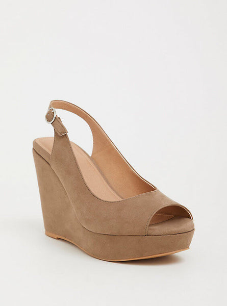 6acadb2d8cf Wide Width Taupe Faux Suede Platform Wedge - Wide Width – Plus Size ...