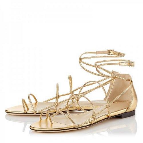 Gold Strappy Flat Gladiator Sandals - Plus Size Heels | Size 16 Heels