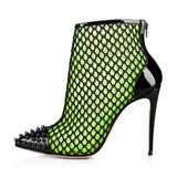 Ghostbuster Green Net Stiletto Boots with Rivets Pointed Toe Ankle Booties - Plus Size Heels | Size 11 Heels | Size 12 Heels