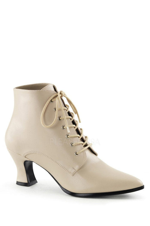 Cream Lace Up Victorian Ankle Booties Faux Leather - Plus Size Heels | Size 11 Heels | Size 12 Heels