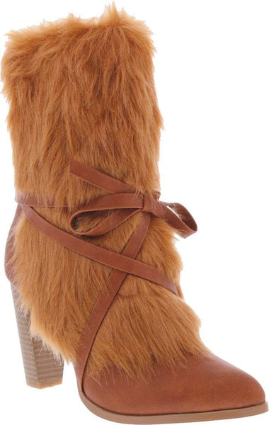 Brown Aper Fur Boot - Plus Size Heels | Size 11 Heels | Size 12 Heels