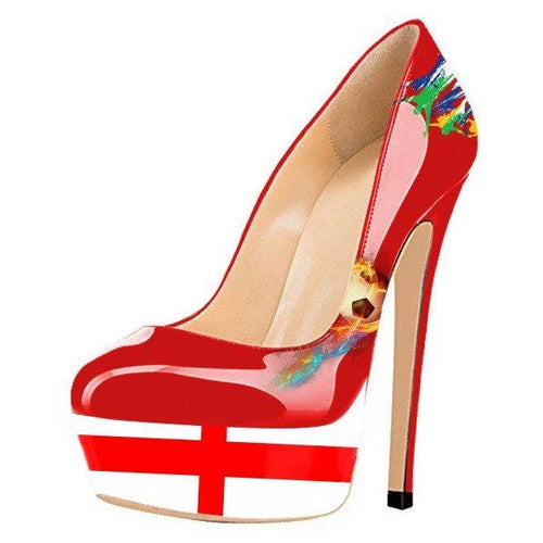 England Design Stiletto Heels Red Sexy Platform Pumps for Soccer Fans - Plus Size Heels | Size 11 Heels | Size 12 Heels