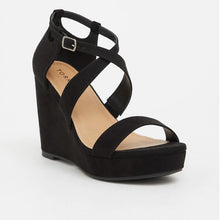 Load image into Gallery viewer, Black Strappy Platform Wide Width Wedge Heels