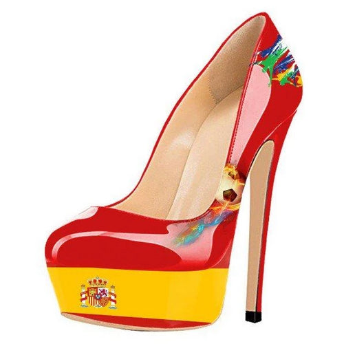 Football Lover Spain Design Red Platform Heels Stiletto Heels Pumps - Plus Size Heels | Size 11 Heels | Size 12 Heels